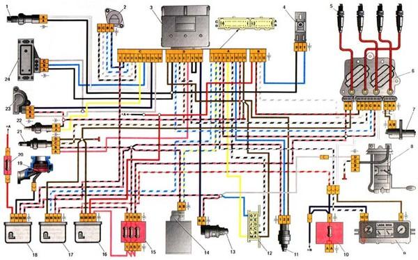 Электросхема Ваз 2110 16 клапанов инжектор