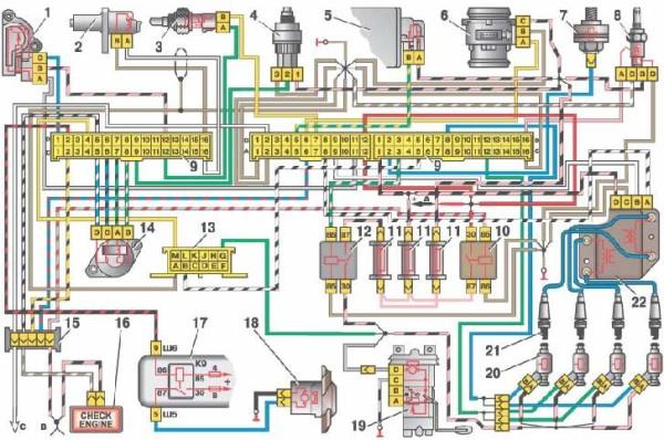 Электросхема Ваз 2110 инжектора 8 клапан